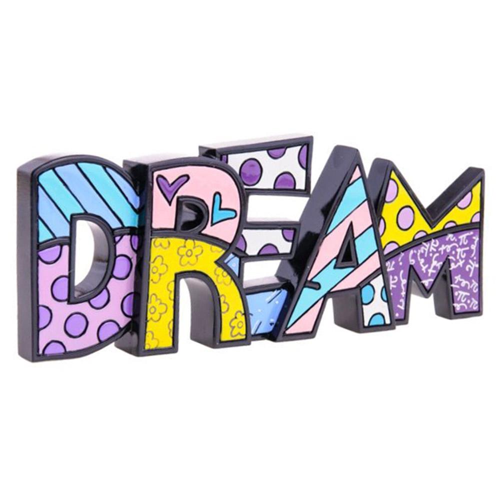 Palavra Decorativa Dream - Romero Britto - em Resina - 26x9 cm