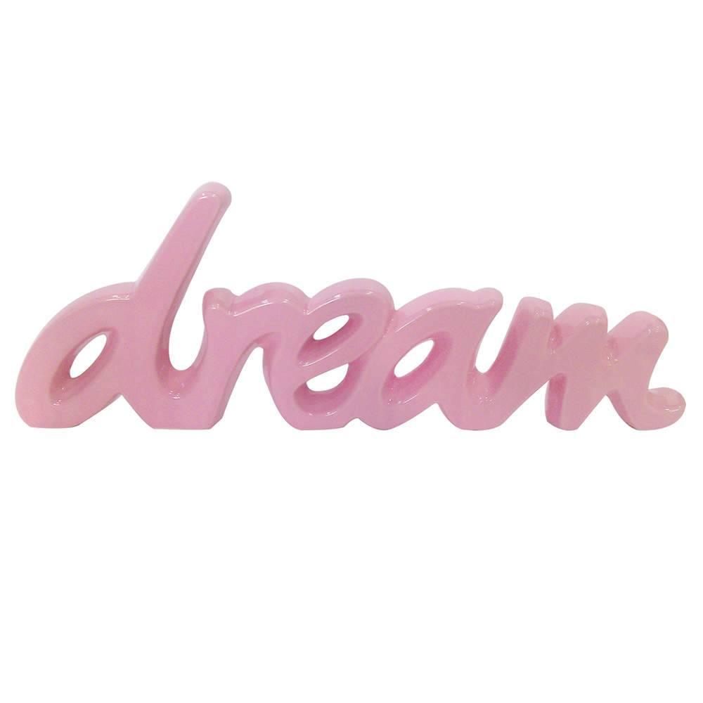 Palavra Decorativa Dream Rosa em Cerâmica - Urban - 43,5x15 cm
