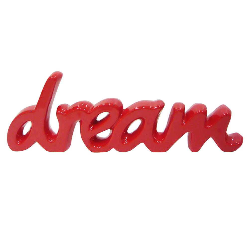 Palavra Decorativa Dream Vermelha em Cerâmica - Urban - 43,5x15 cm