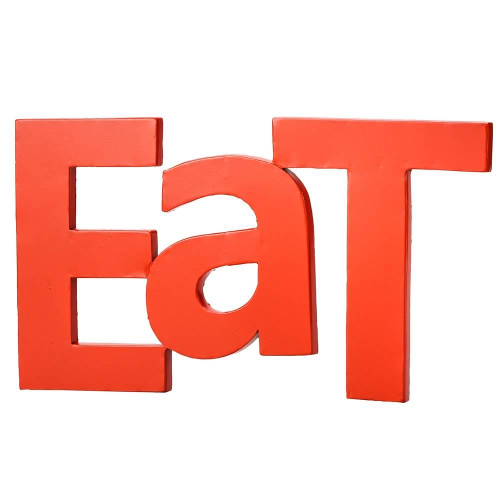 Palavra Decorativa Eat Vermelha em Metal - Lyor Design - 38 cm