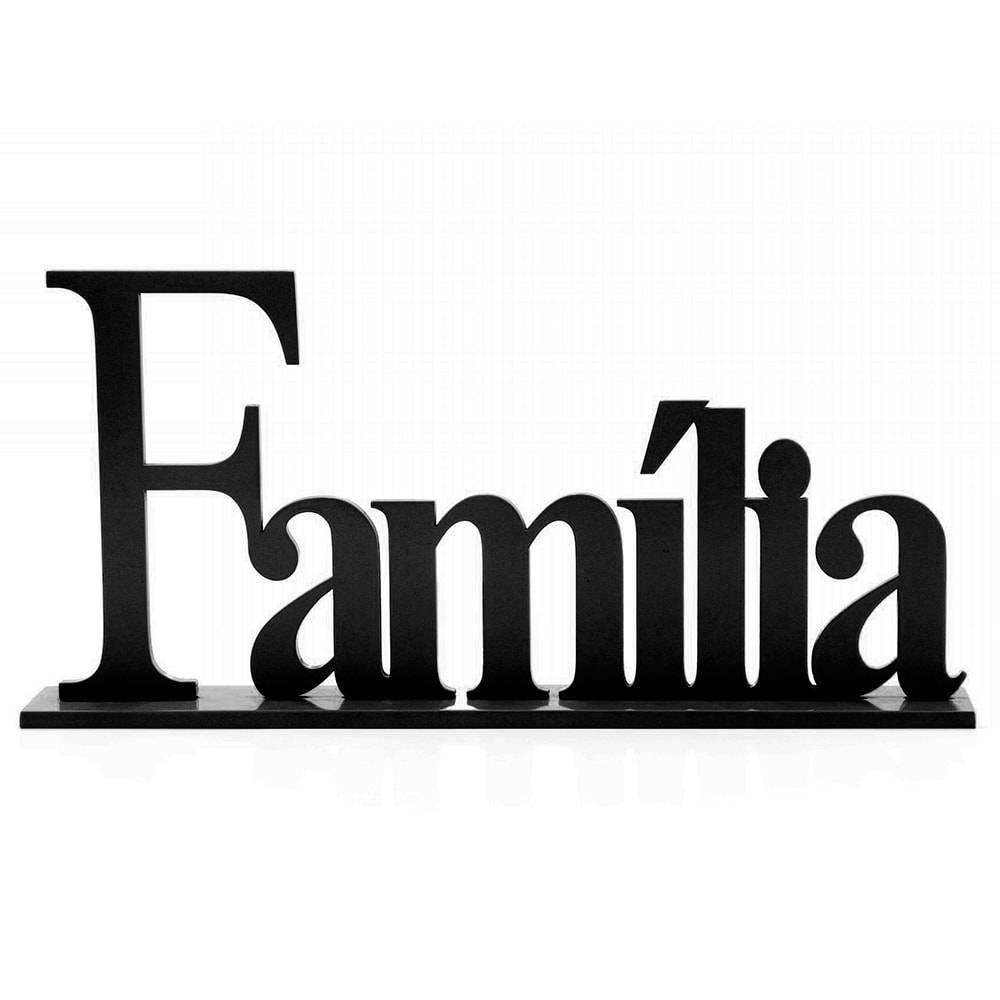 Palavra Decorativa Família em MDF Laqueado Preto - 33x21 cm