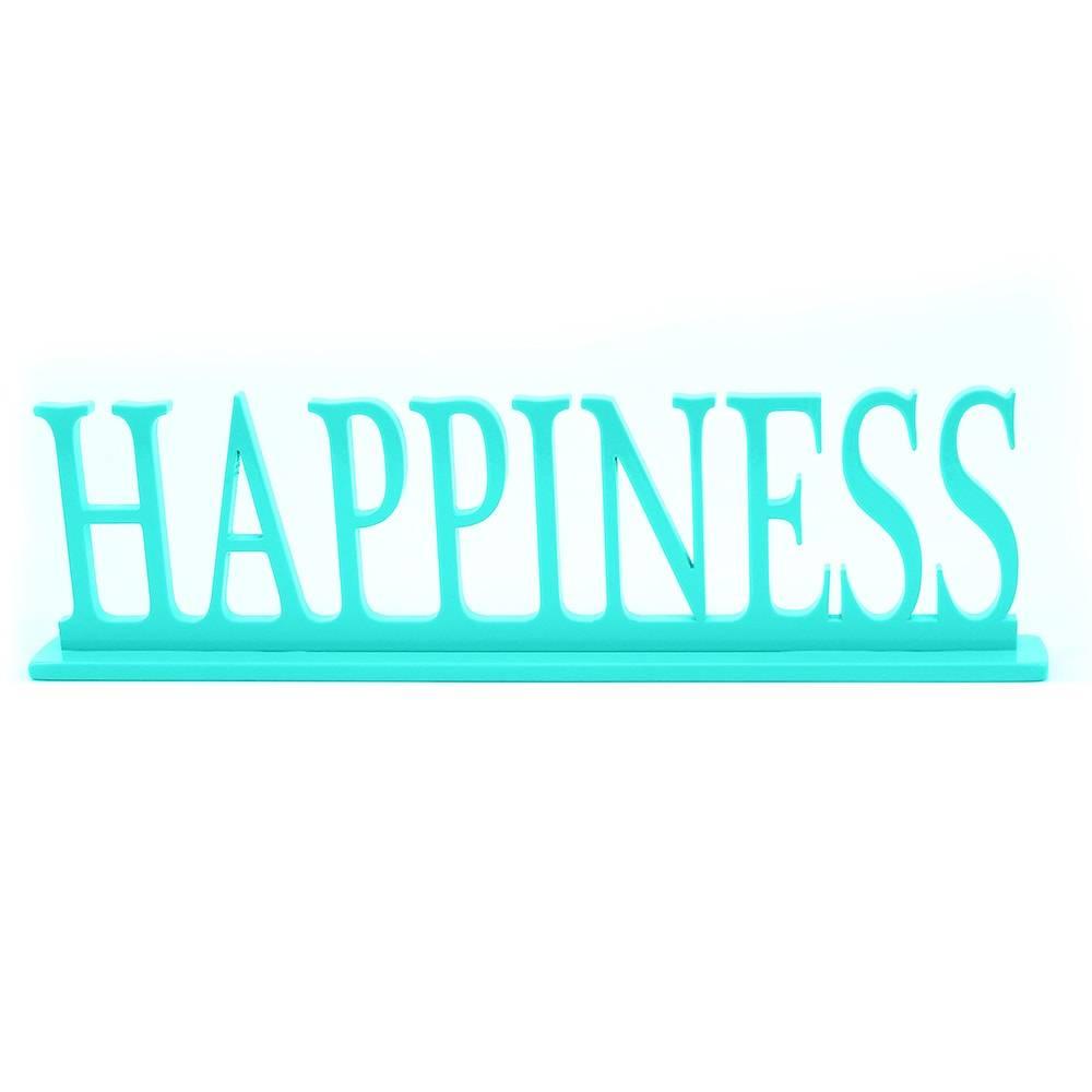 Palavra Decorativa Happiness em MDF Laqueado Tífany - 34,5x13 cm