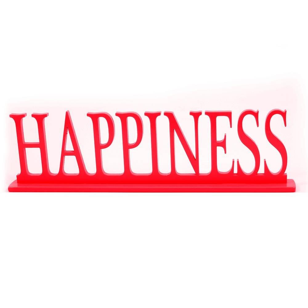 Palavra Decorativa Happiness em MDF Laqueado Vermelho - 34,5x13 cm