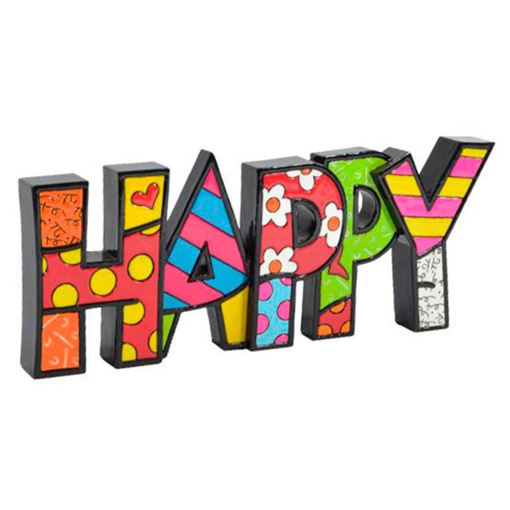 Palavra Decorativa Happy - Romero Britto - em Resina - 23x9 cm