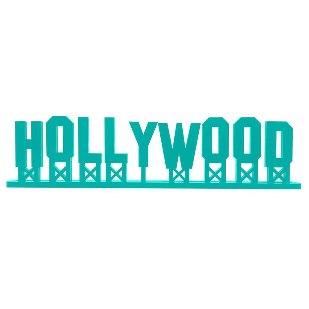 Palavra Decorativa Hollywood em MDF Laqueado Azul Tífany - 30x8,6 cm