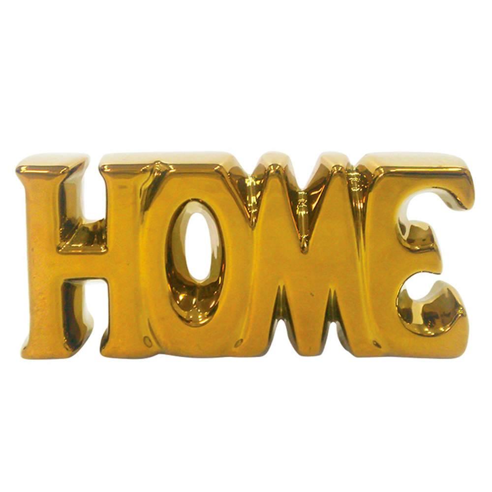 Palavra Decorativa Home Dourada em Cerâmica - Urban - 18,5x9 cm
