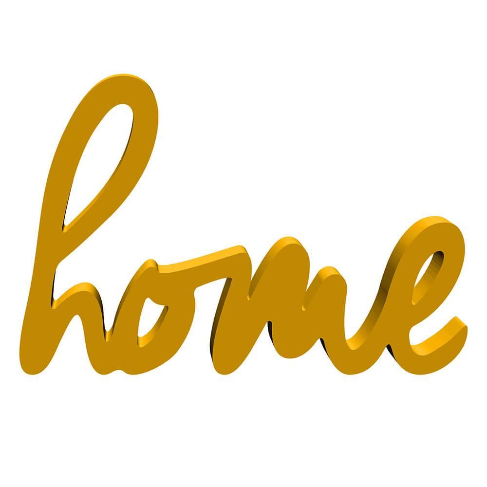 Palavra Decorativa Home - Manuscrito - em MDF Laqueado Amarelo - 33x13,4 cm