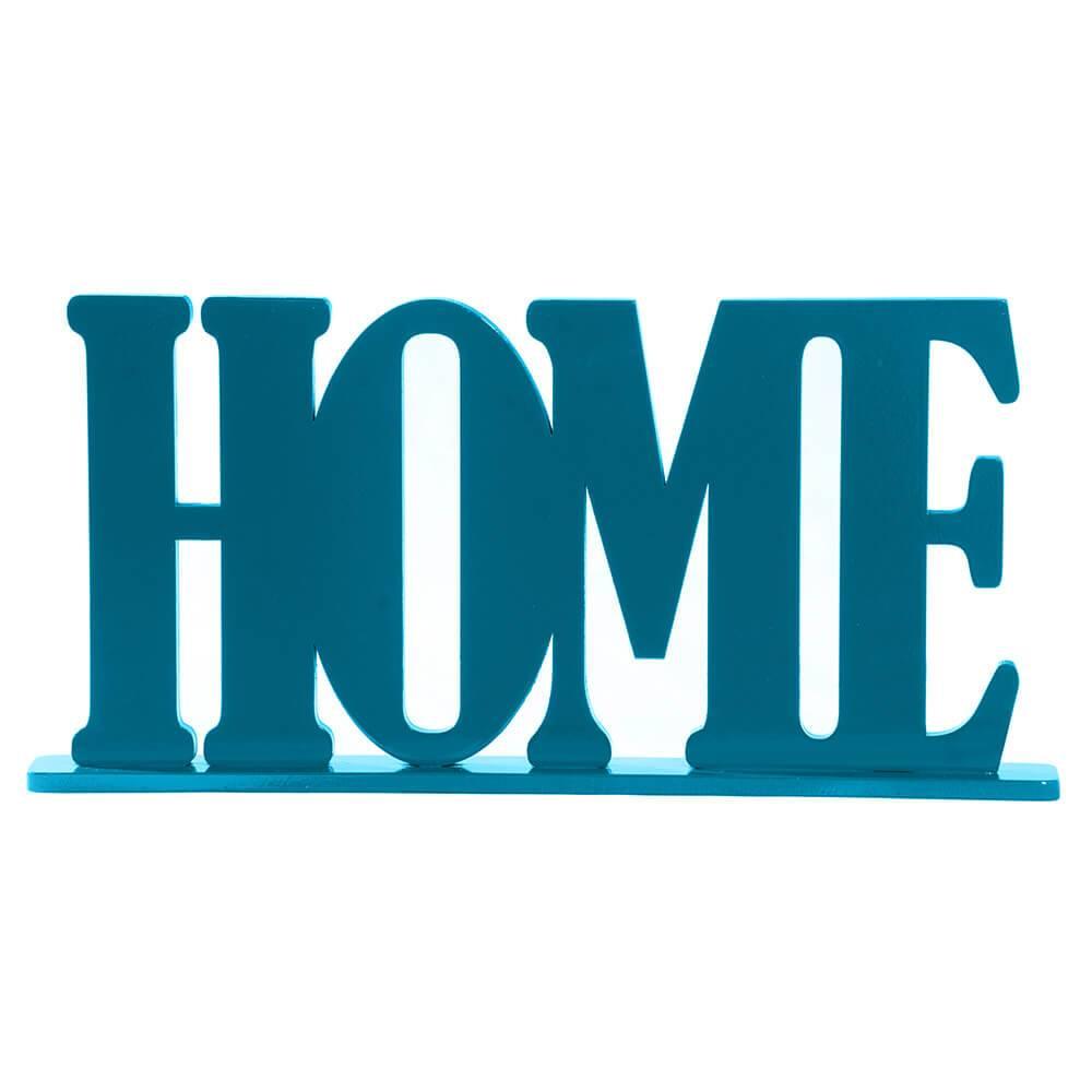 Palavra Decorativa Home em MDF Laqueado Azul - 30x15 cm