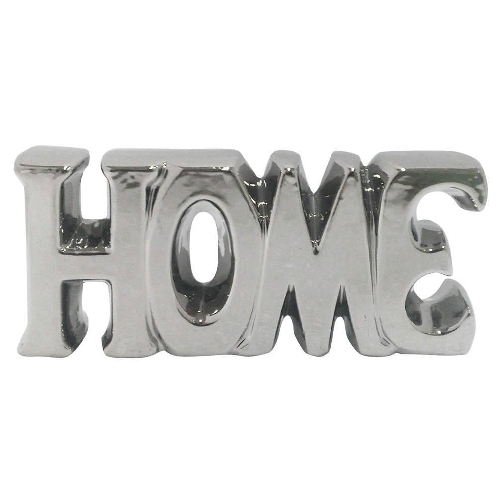 Palavra Decorativa Home Prata em Cerâmica - Urban - 18,5x9 cm