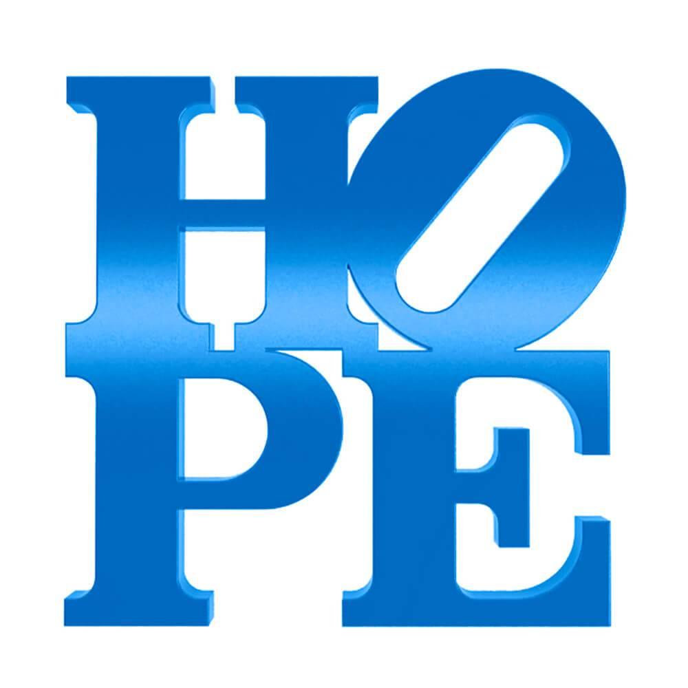 Palavra Decorativa Hope em MDF Laqueado Azul Royal - 18,5x18,5 cm