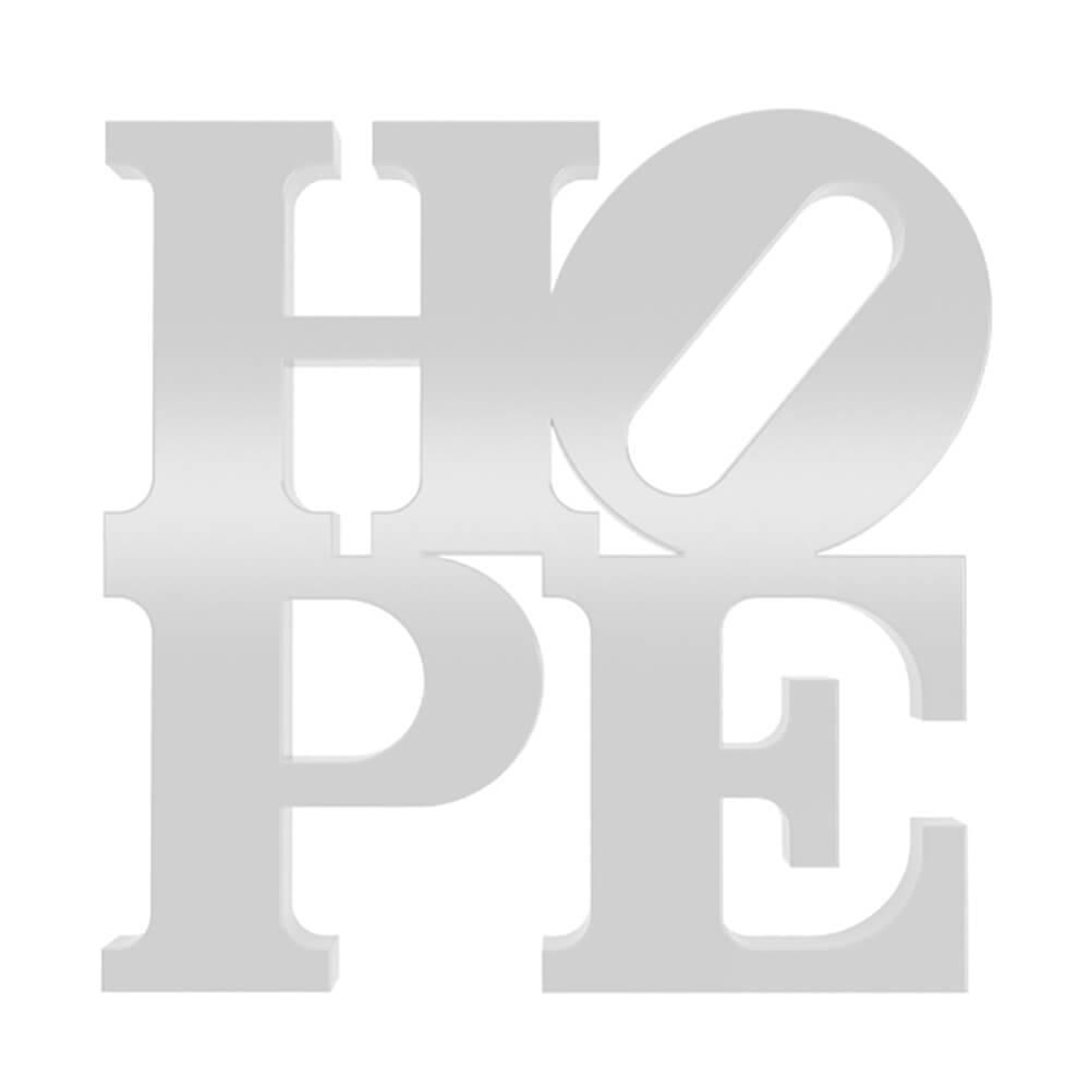 Palavra Decorativa Hope em MDF Laqueado Branco - 18,5x18,5 cm