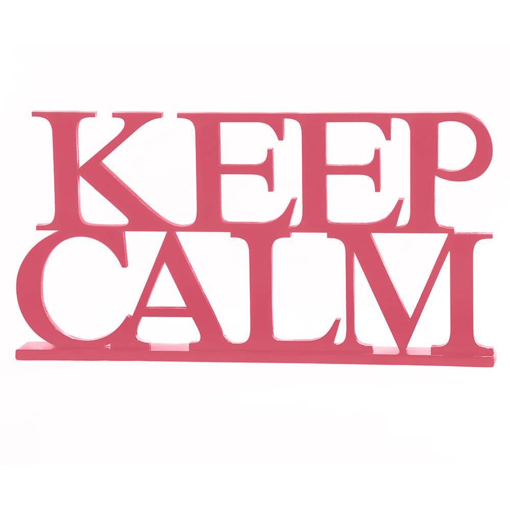 Palavra Decorativa Keep Calm em MDF Laqueado Rosa Antigo - 33,5x18 cm