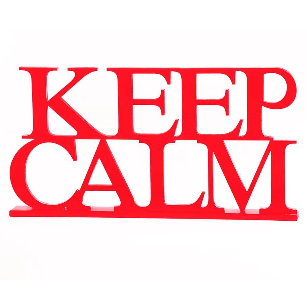 Palavra Decorativa Keep Calm em MDF Laqueado Vermelho - 33,5x18 cm