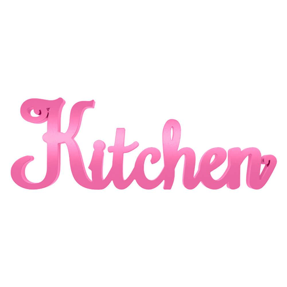 Palavra Decorativa Kitchen Roxa em MDF Laqueado - 35x10 cm