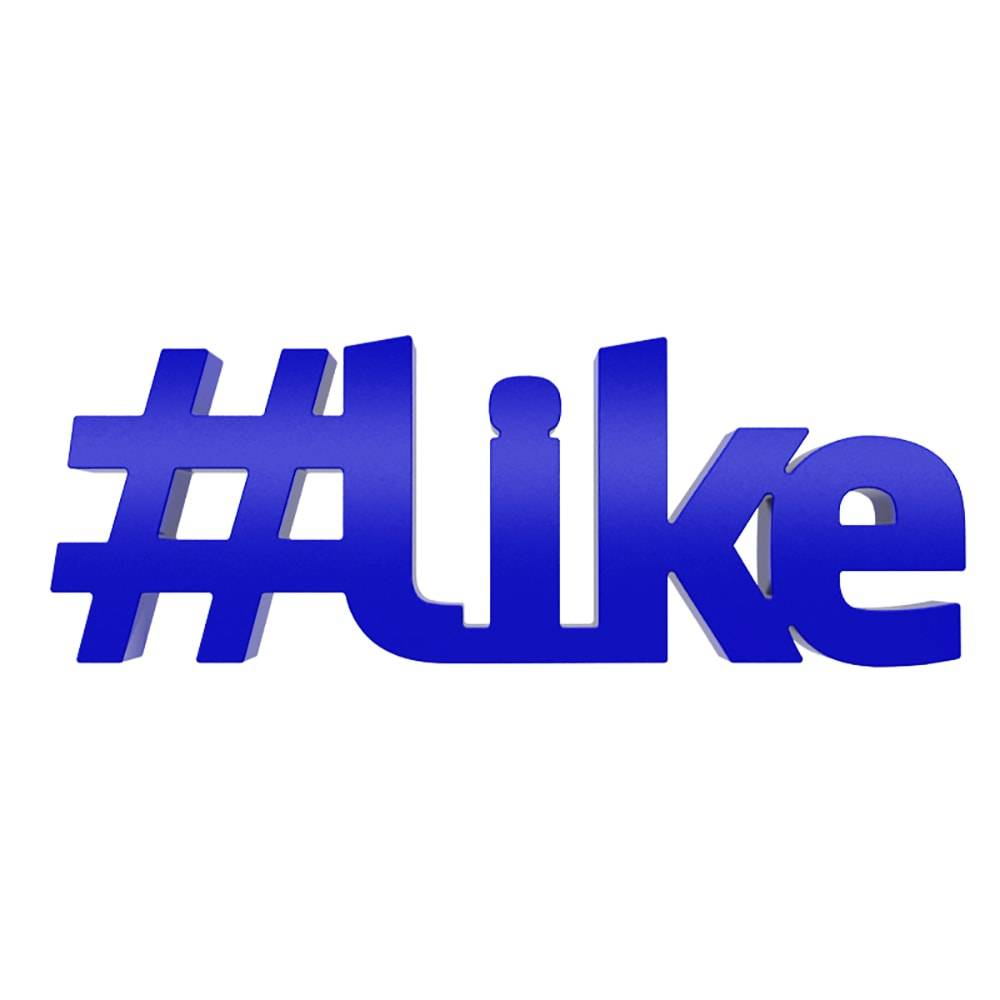 Palavra Decorativa #Like em MDF Laqueado Azul Royal - 16x6 cm