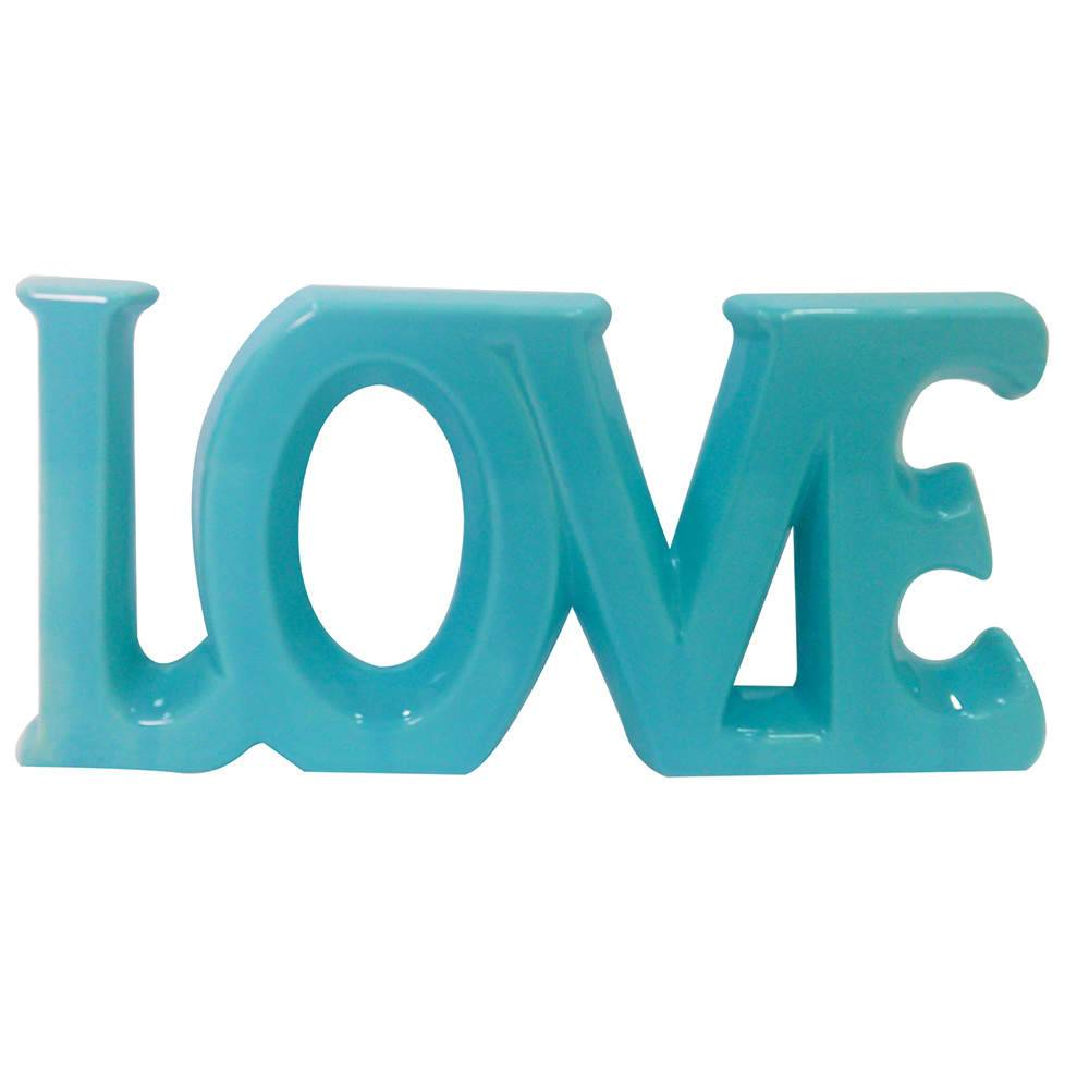 Palavra Decorativa Love Azul Romântico em Cerâmica - Urban - 30x15 cm