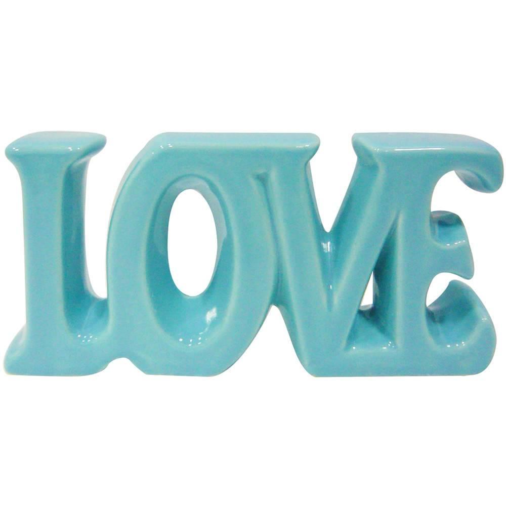 Palavra Decorativa Love Azul Romântico Pequeno em Cerâmica - 18,5x9 cm