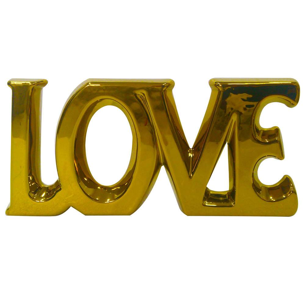 Palavra Decorativa Love Dourada em Cerâmica - Urban - 30x15 cm
