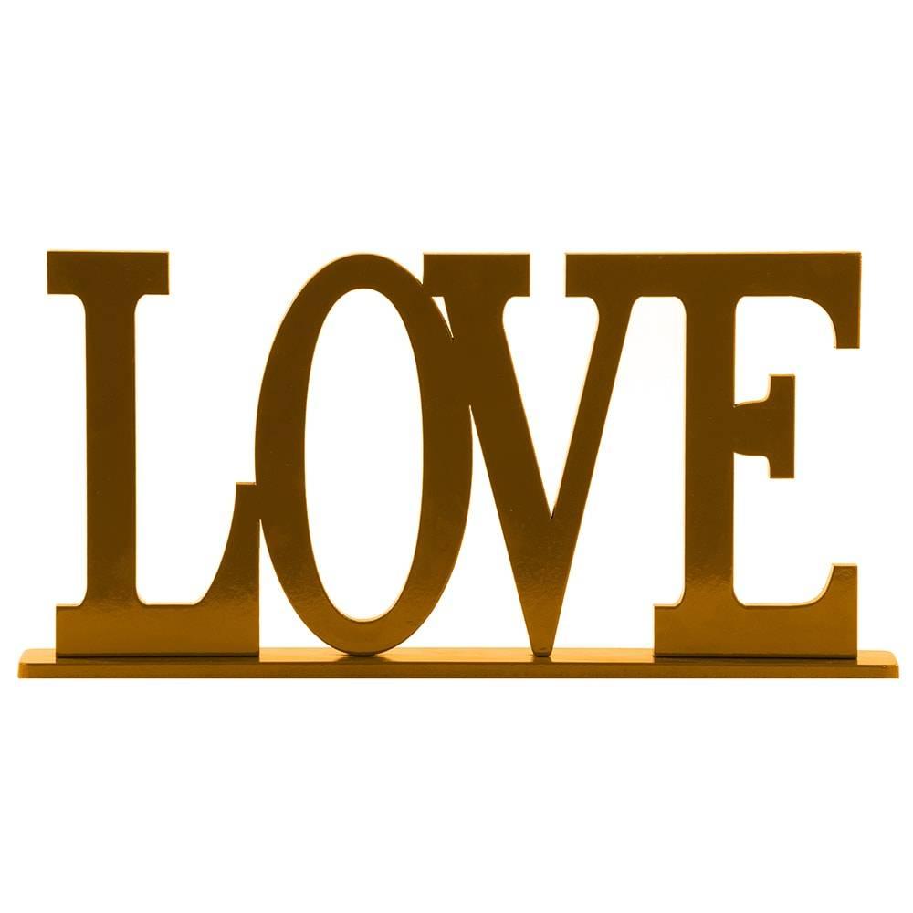 Palavra Decorativa Love em MDF Laqueado Dourado - 30x15,1 cm