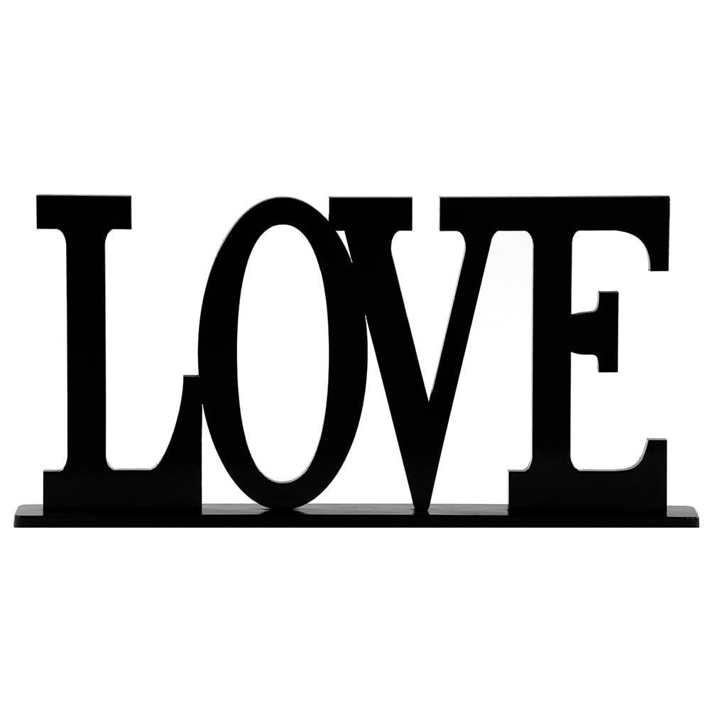 Palavra Decorativa Love em MDF Laqueado Preto - 30x15,1 cm