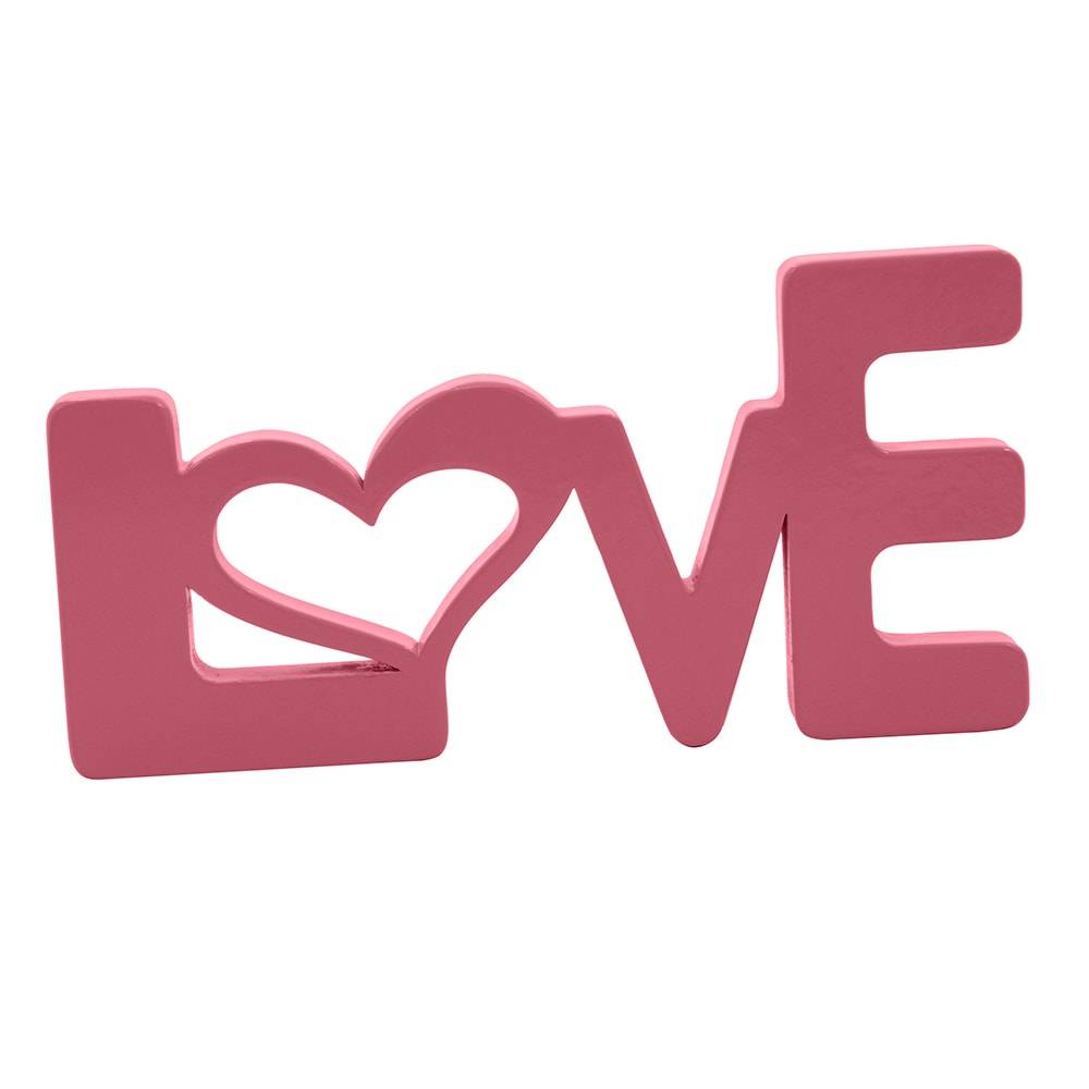 Palavra Decorativa Love em MDF Laqueado Rosa - 28x14 cm