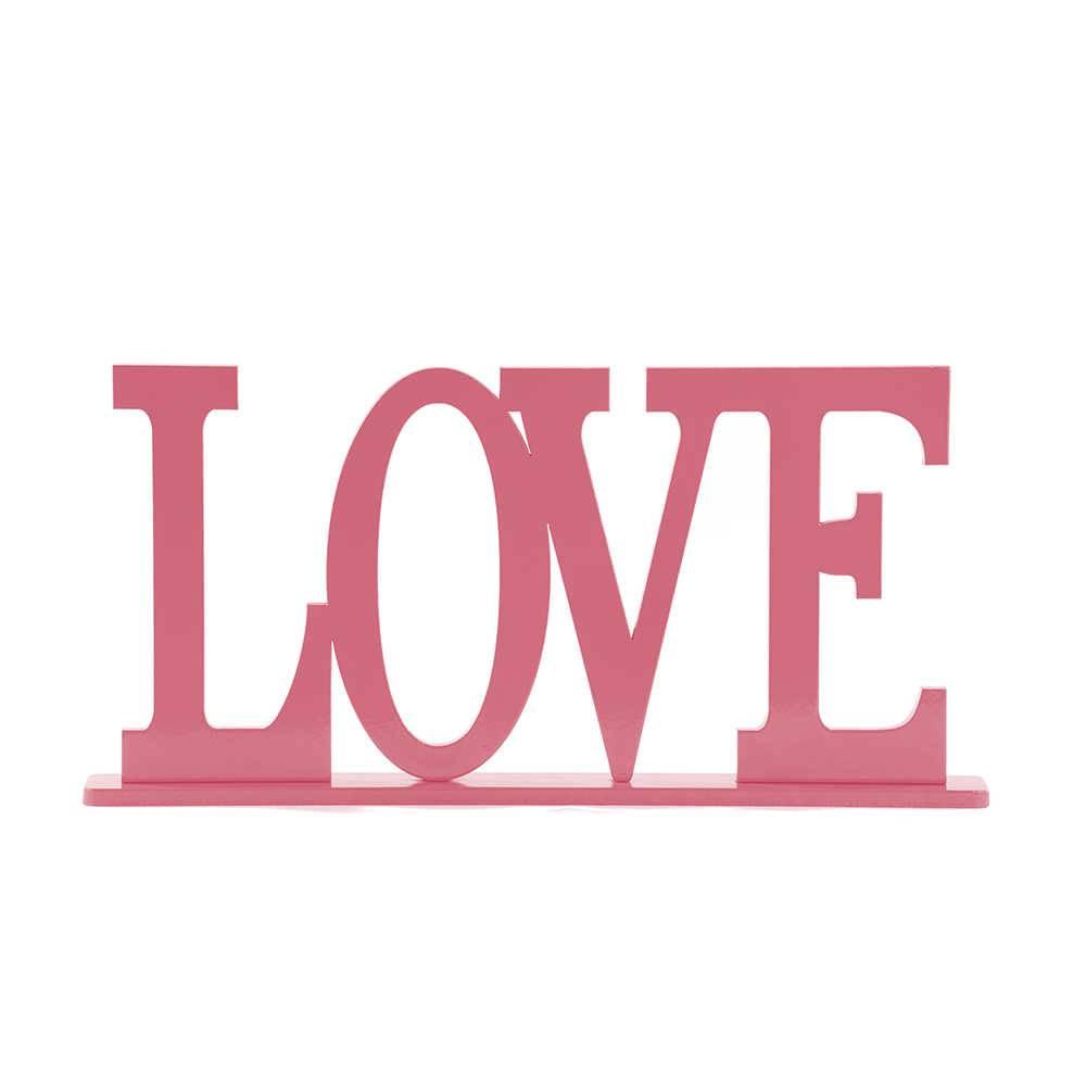 Palavra Decorativa Love em MDF Laqueado Rosa Antigo - 30x15,1 cm