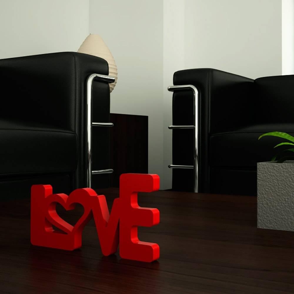 Palavra Decorativa Love em MDF Laqueado Vermelho - 28x14 cm