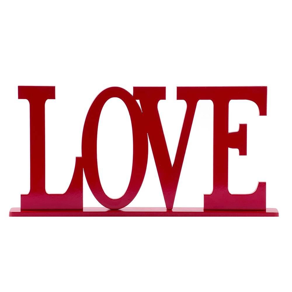 Palavra Decorativa Love em MDF Laqueado Vermelho - 30x15,1 cm