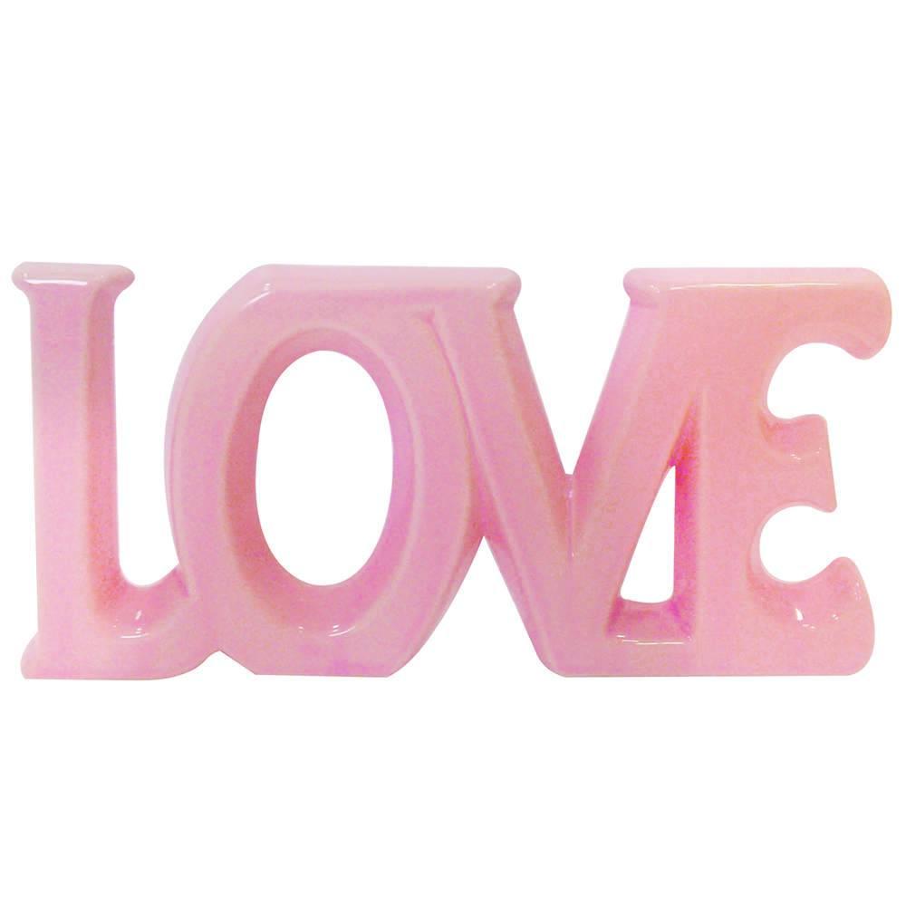 Palavra Decorativa Love Rosa Romântico Grande em Cerâmica - Urban - 30x15 cm