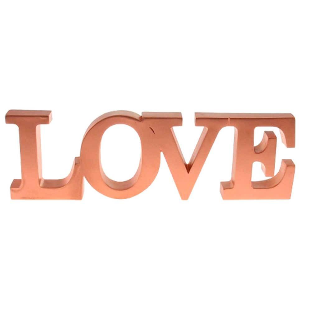 Palavra Decorativa Love Rosê em Resina - 31x10 cm