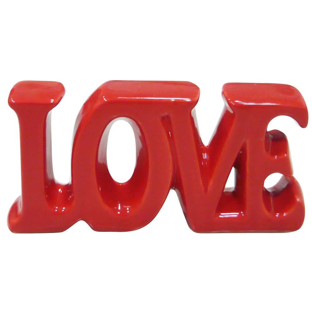 Palavra Decorativa Love Vermelho Grande em Cerâmica - Urban - 30x15 cm