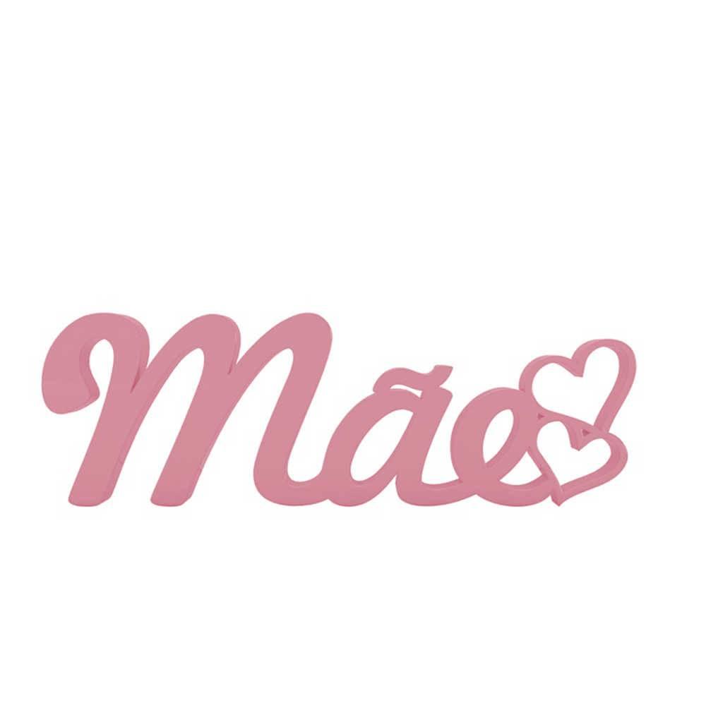 Palavra Decorativa Mãe em MDF Laqueado Rosa - 32x10,5 cm