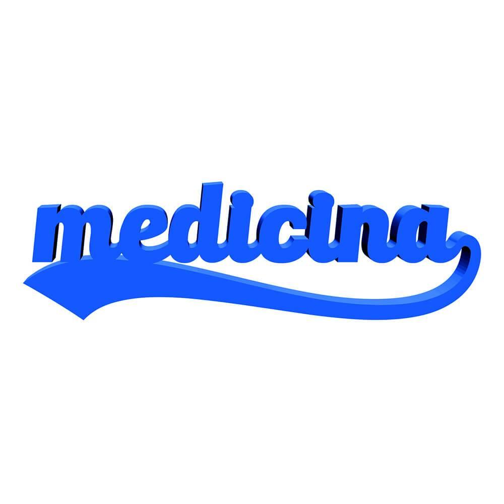 Palavra Decorativa Medicina em MDF Laqueado Azul Royal - 38x11 cm