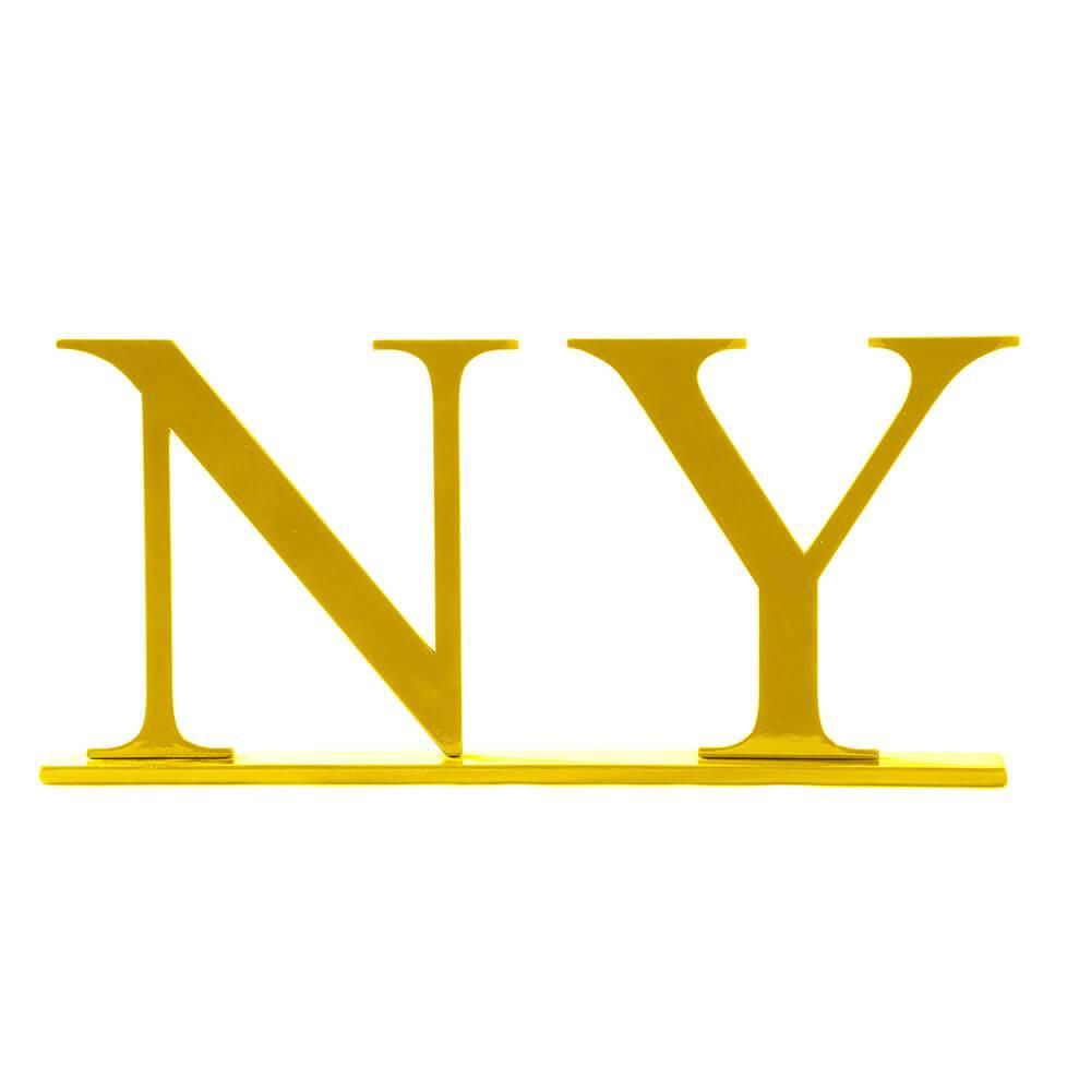 Palavra Decorativa NY em MDF Laqueado Amarelo - 31,6x17 cm