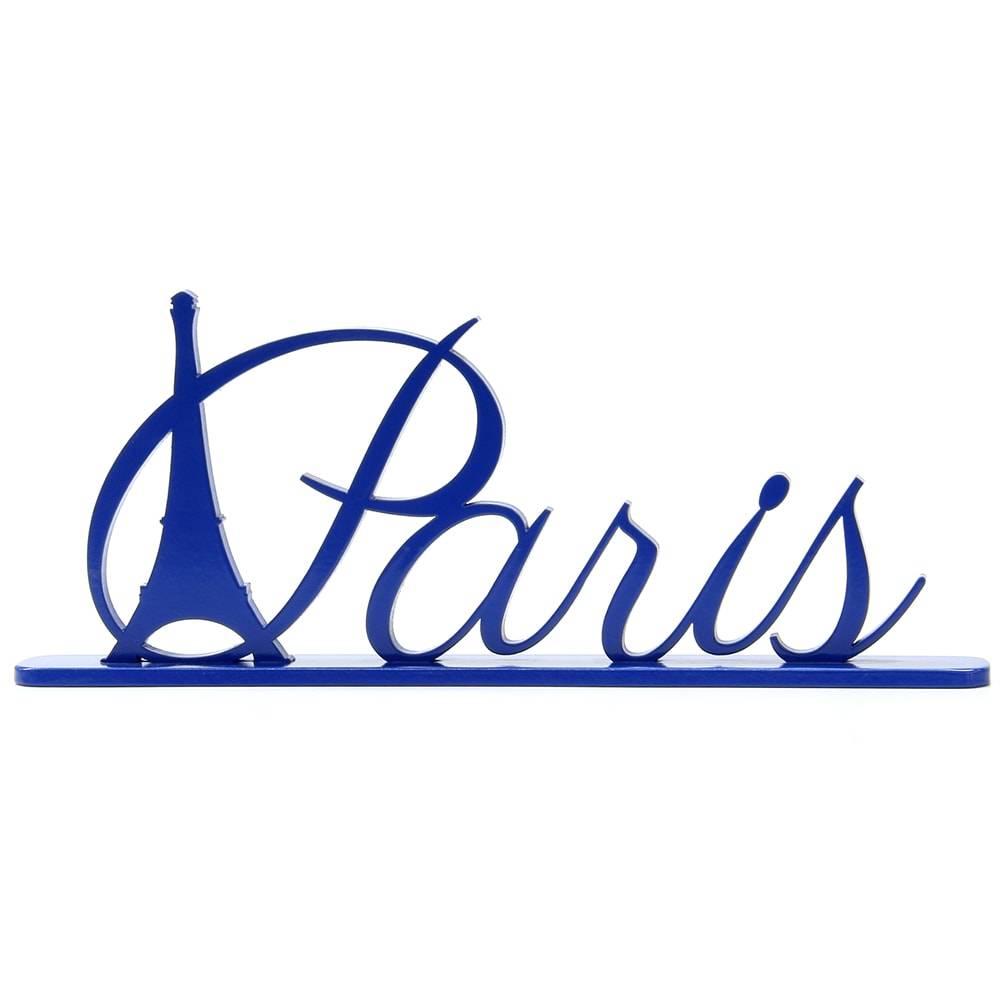 Palavra Decorativa Paris em MDF Laqueado Azul Royal - 33,5x17,5 cm