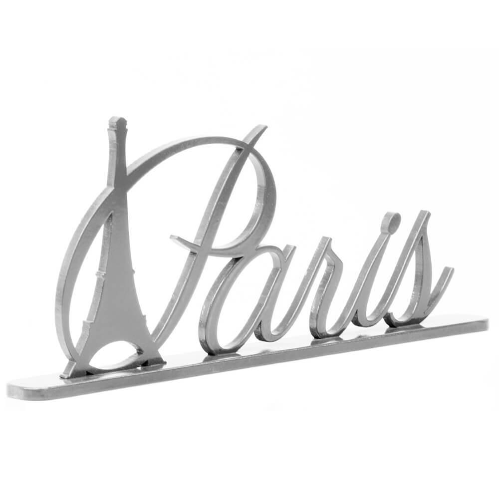 Palavra Decorativa Paris em MDF Laqueado Prata - 33,5x17,5 cm