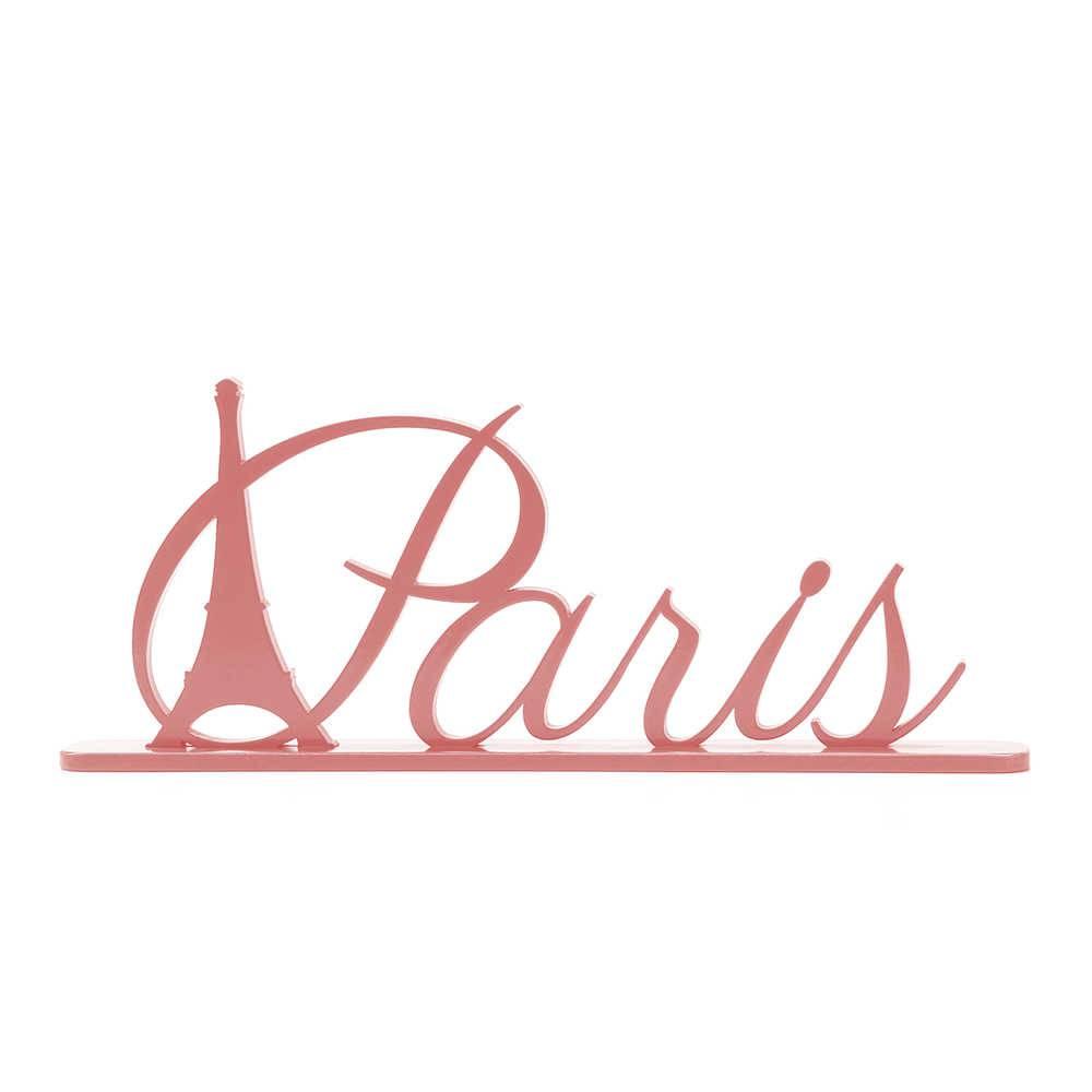 Palavra Decorativa Paris em MDF Laqueado Rosa Antigo - 33,5x17,5 cm