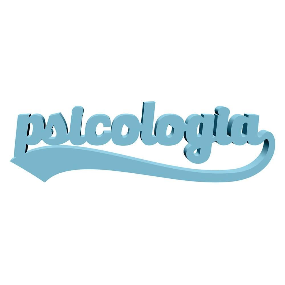 Palavra Decorativa Psicologia em MDF Laqueado Azul Aquamarine - 41x12 cm