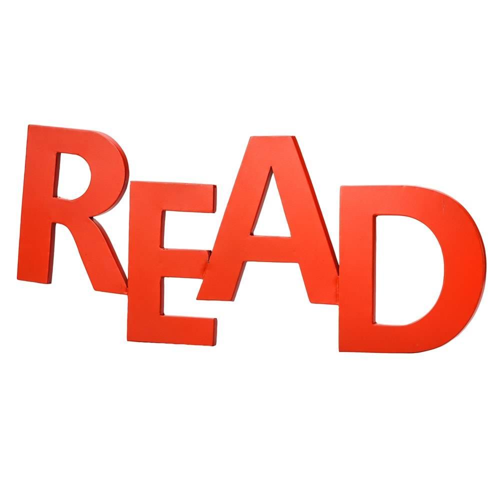 Palavra Decorativa Read Vermelha em Metal - Lyor Design - 63,5 cm