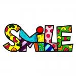 Palavra Decorativa Smile - Romero Britto - em Resina - 22x9 cm