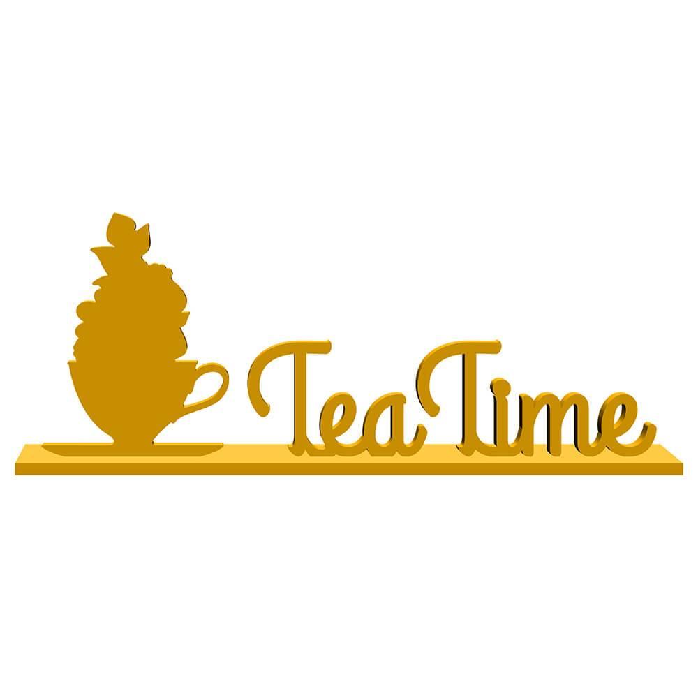 Palavra Decorativa Tea Time em MDF Laqueado Amarelo - 35x13,4 cm