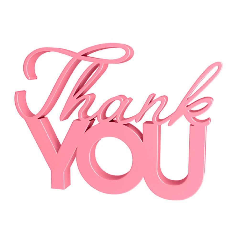 Palavra Decorativa Thank You em MDF Laqueado Rosa Antigo - 22x16 cm