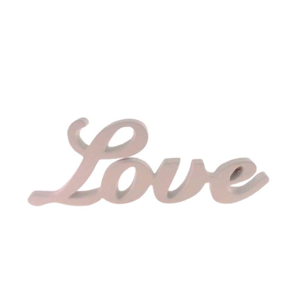 Palavra Love Decorativa Branca em Resina - 25x9 cm