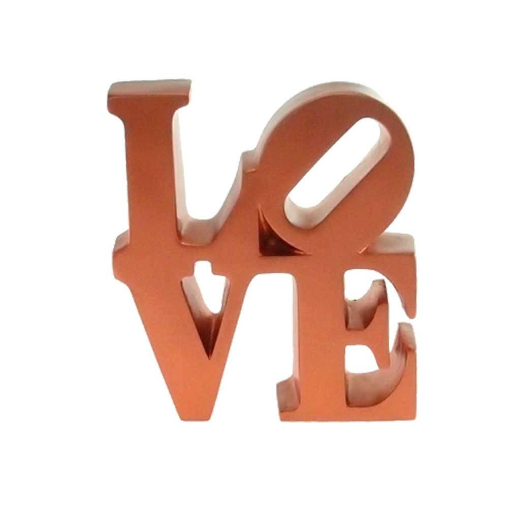 Palavra Love Decorativa Cobre em Resina - 16x15 cm