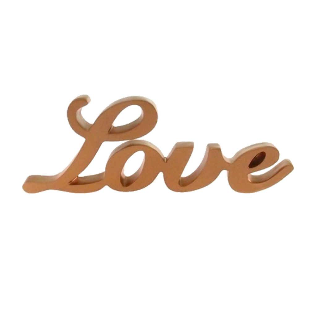 Palavra Love Decorativa Dourada em Resina - 25x9 cm