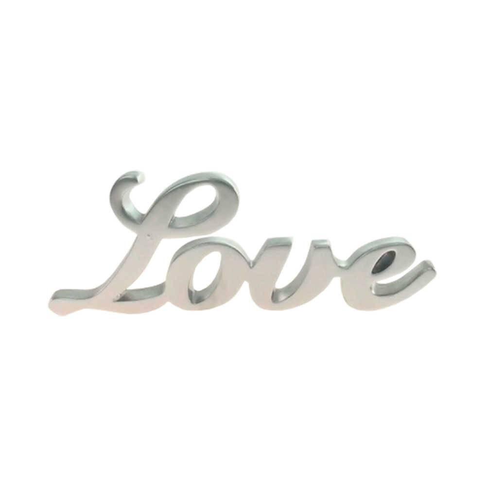 Palavra Love Decorativa Prata em Resina - 25x9 cm
