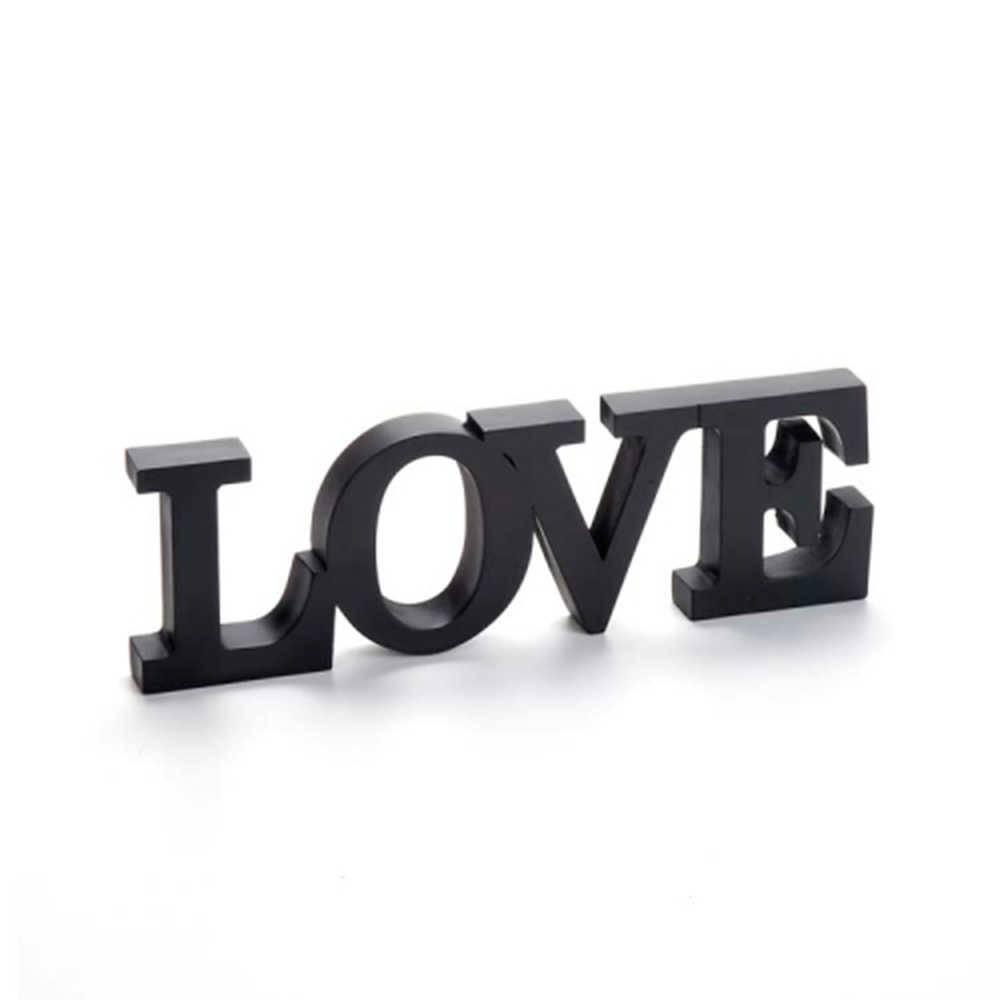 Palavra Love Decorativa Preta em Resina - 31x10 cm