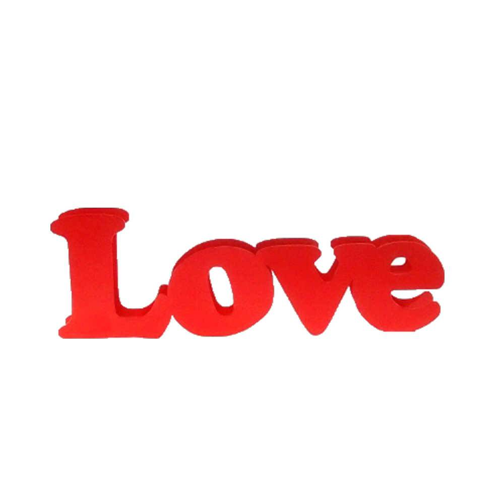 Palavra Love Decorativa Vermelha na Horizontal em Metal - 30x10 cm