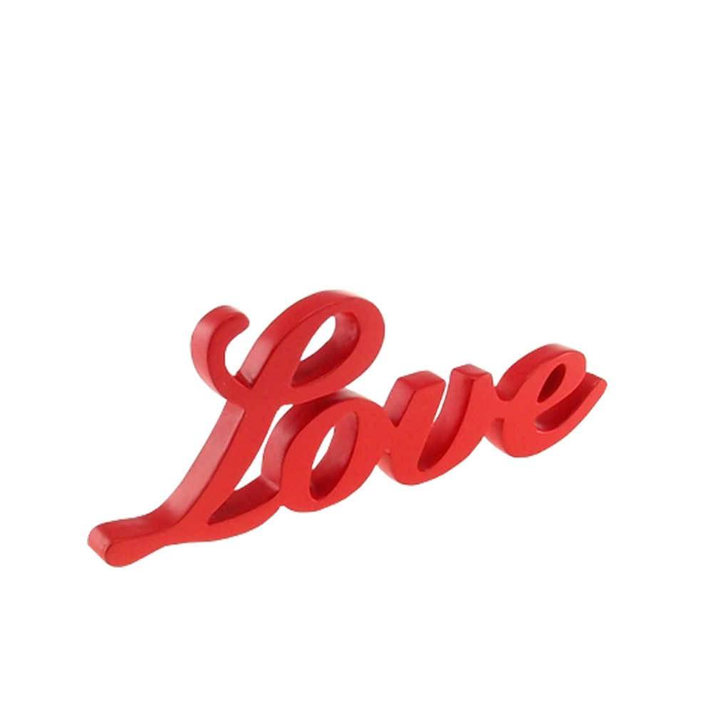 Palavra Love Decorativa Vermelha em Resina - 25x9 cm