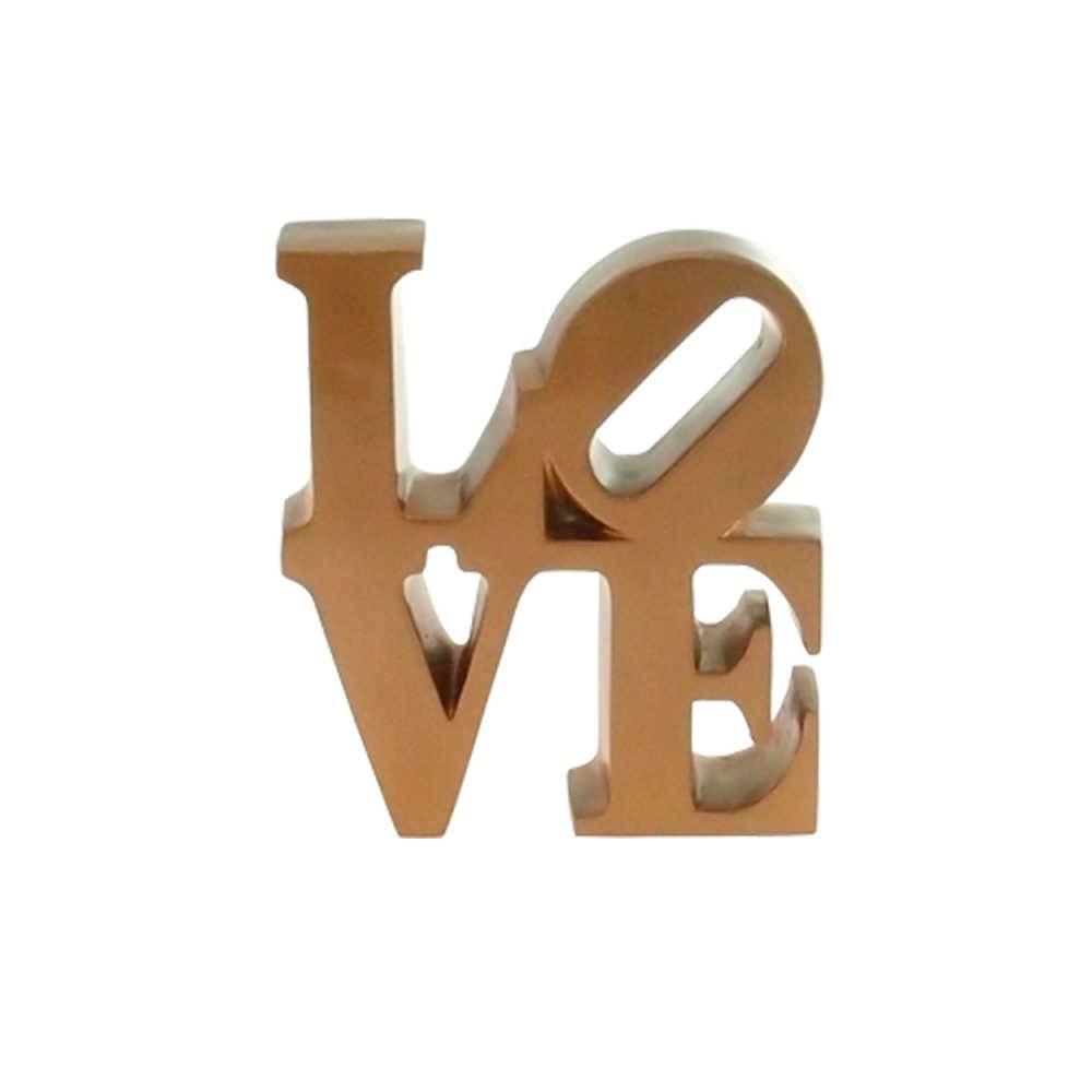 Palavra Love NY Decorativa Dourada em Resina - 16x15 cm